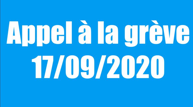 Appel à la grève le 17 septembre.